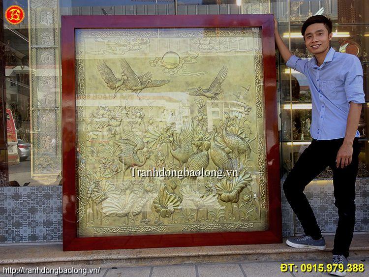 Tranh Sen Hạc Bằng Đồng Mộc Cao 1m84