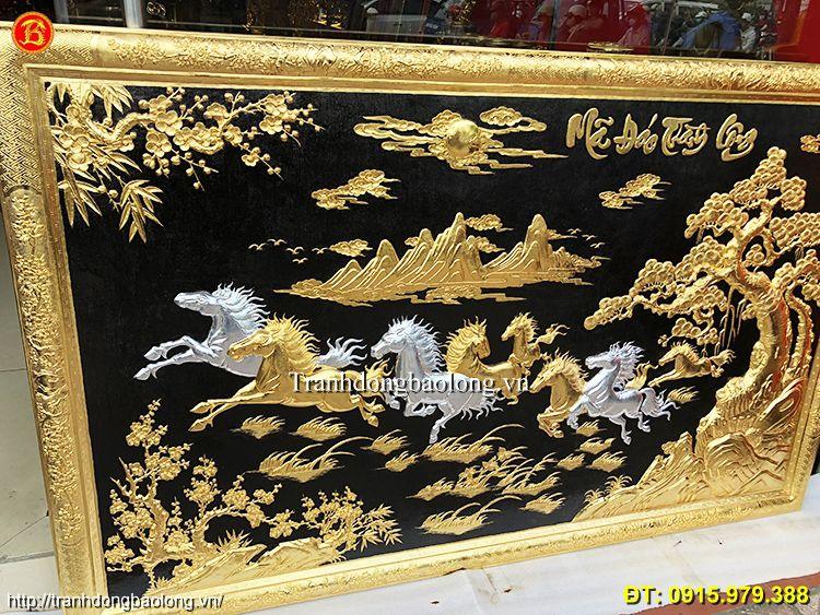 Tranh Bát Mã Bằng Đồng Mạ Vàng 24k 1m97