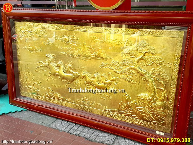 Tranh Ngựa Mạ Vàng 24k, dài 2m31 x 1m27