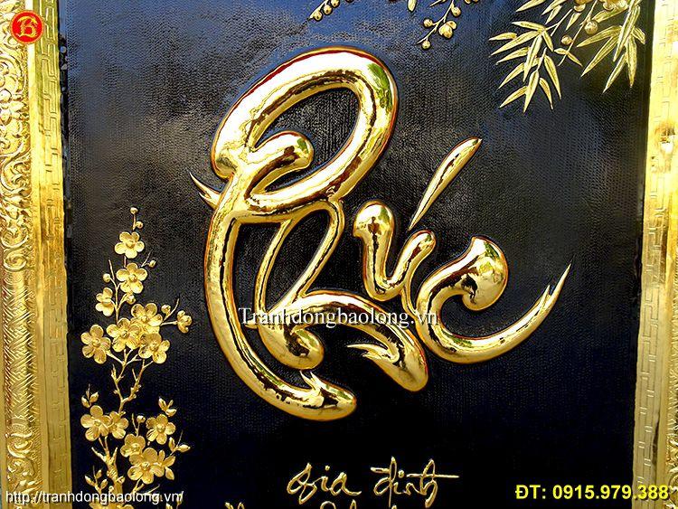 Tranh Chữ Phúc Thư Pháp Mạ Vàng 24k