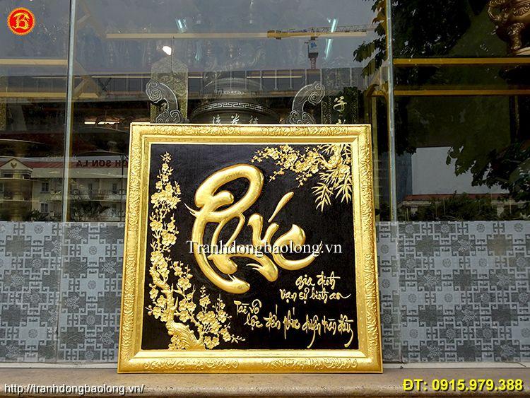 Tranh Chữ Phúc Dát Vàng 9999 vuông 81cm