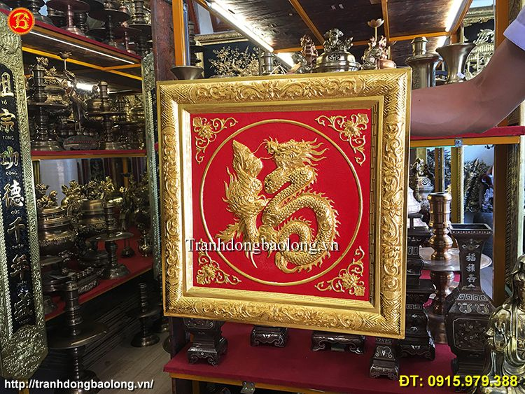 Tranh Chữ Phúc Bằng Đồng mạ vàng 24k