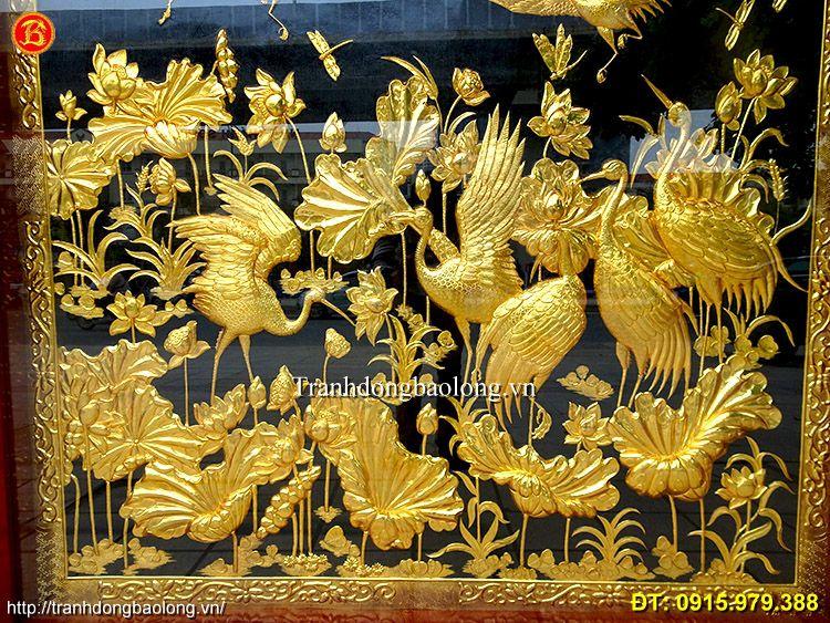 Tranh Đồng Sen Hạc Mạ Vàng 24k 1m84